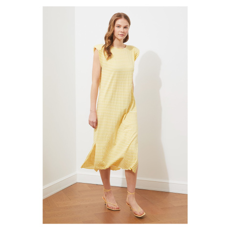 Trendyol Yellow Striped Padded Knitted Dress