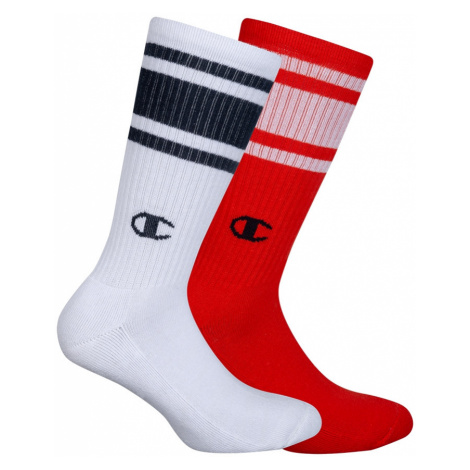 Ponožky Unisex Champion 8SU 2PACK bílá/červená | vzorované