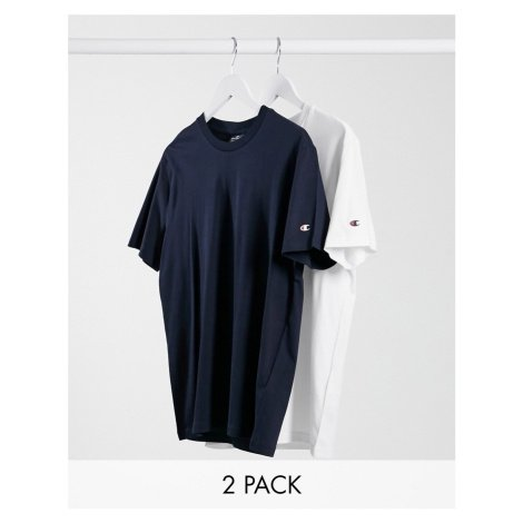 Champion 2 pack t-shirt in white & navy SAVE