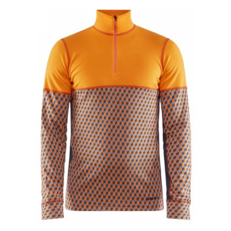 Pánské tričko CRAFT Merino 240 Zip LS oranžová
