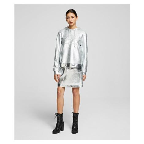 Sukně Karl Lagerfeld Silver Coated Skirt - Šedá