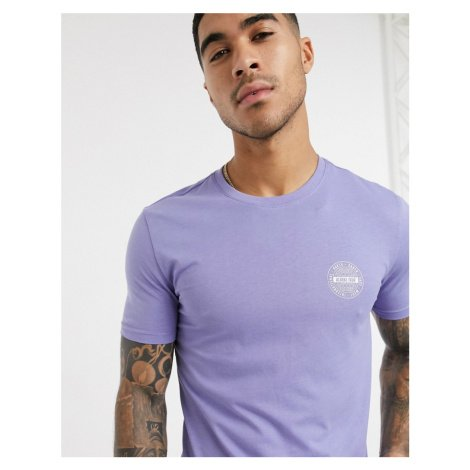 New Look Tour muscle fit chest print t-shirt in purple