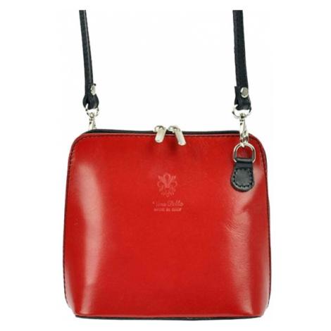 Kožená malá dámská crossbody kabelka červená s černým páskem Diva