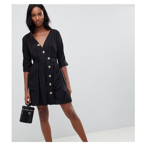 ASOS DESIGN Tall casual mini dress with pockets & side buttons-Black
