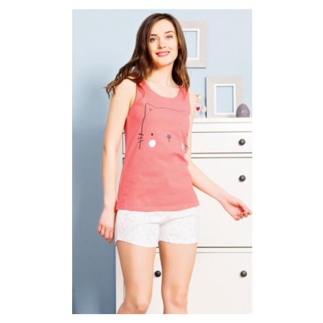 Dámské pyžamo šortky na ramínka Kotě, XL, korálová Vienetta Secret