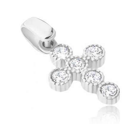 Přívěsek ze 14K bílého zlata - malý vroubkovaný křížek se zirkonky v kruzích Šperky eshop