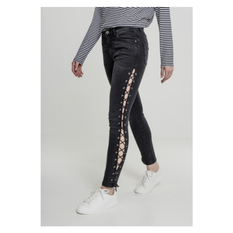 Urban Classics Ladies Denim Lace Up Skinny Pants black washed