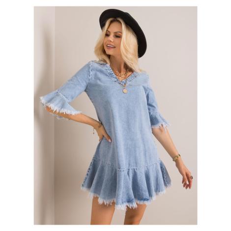 RUE PARIS Světle modré riflové šaty