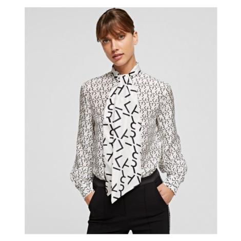 Halenka Karl Lagerfeld Future Logo Silk Shirt W/Tie - Bílá