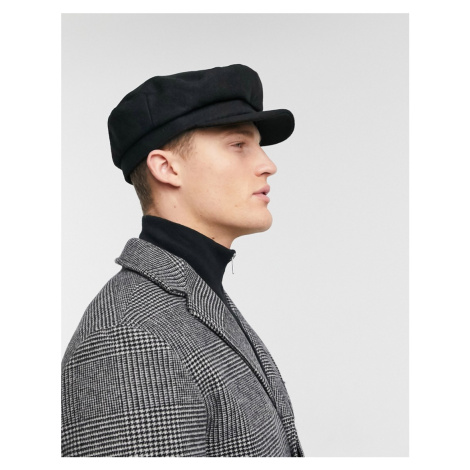 ASOS DESIGN mariner baker boy hat in black melton