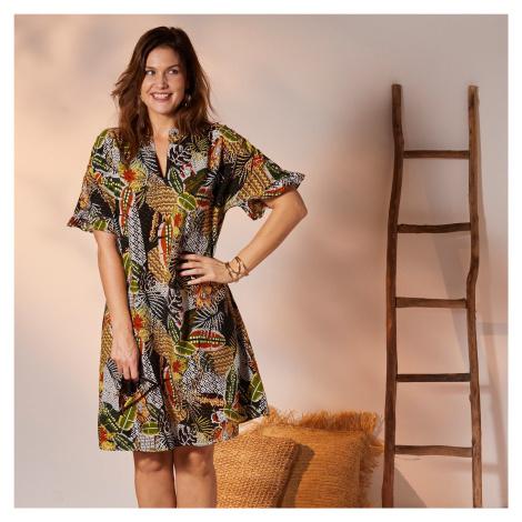 Blancheporte Košilové volánové šaty s pestrobarevným potiskem černá/paprika