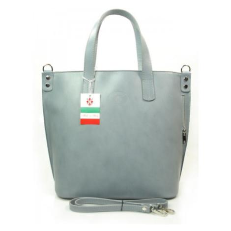 Kožená shopper bag kabelka Vera Pelle 1777 světle šedá