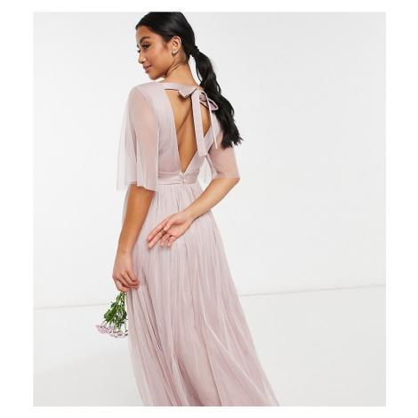 Anaya With Love Petite Bridesmaid tulle flutter sleeve maxi dress in pink