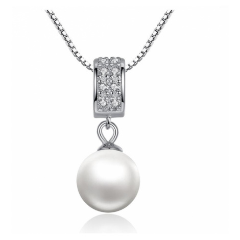 Linda's Jewelry Stříbrný řetízek s přívěskem a zirkony Perla Elegance INH022
