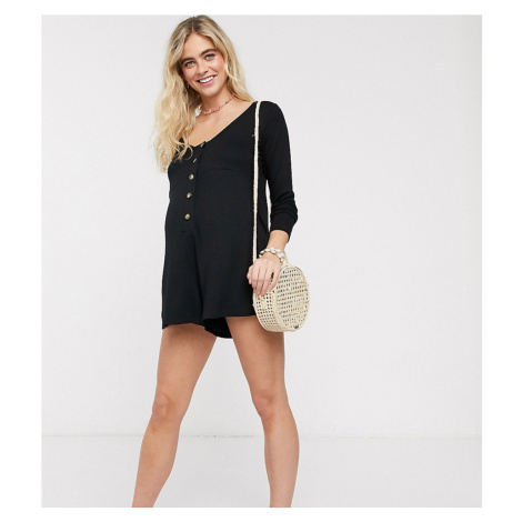 ASOS DESIGN maternity jersey slouchy rib playsuit with button front-Black