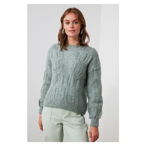 Trendyol Mint Braided Knitwear Sweater