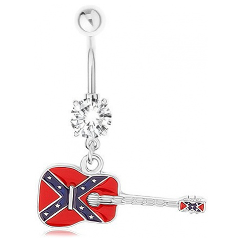 Piercing do pupíku z chirurgické oceli, kytara s motivem vlajky konfederace Šperky eshop