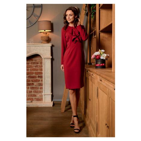 Elegantní pouzdrové šaty s ozdobnými knoflíky a volány na hrudi Lemoniade