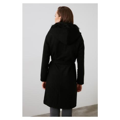 Trendyol Black Fur Hood Detailed Arched Woollen Cachet Coat