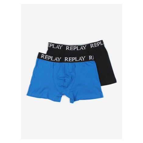 Boxerky Replay Boxer Style 01/C Basic Cuff Logo 2Pcs Box Černá