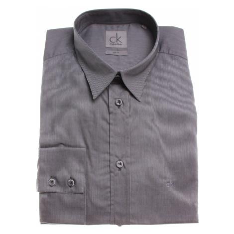 Calvin Klein pánská tmavě šedá košile s úzkými proužky