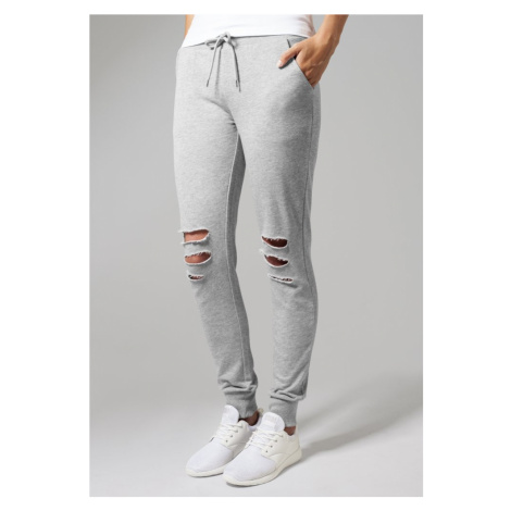 Tepláky Urban Classics Ladies Cutted Terry Pants - grey