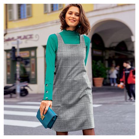 Blancheporte Kostkované šaty z úpletu Milano černá/šedá