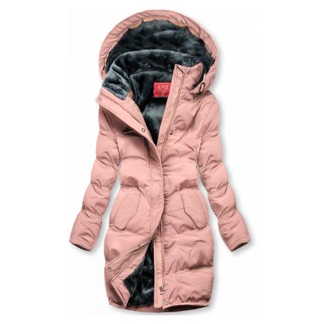 Růžová zimní bunda s plyšovou podšívkou Butikovo