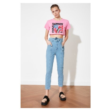 Trendyol High Waist Mom Jeans WITH Blue Binding Detail