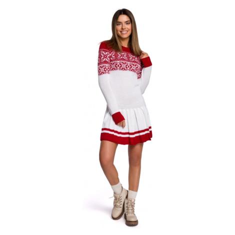 Dvoubarevné vánoční svetrové šaty s vánočním motivem MXS01 Moe