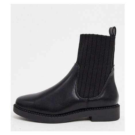 ASOS DESIGN Wide Fit Amanda chunky sock boots in black