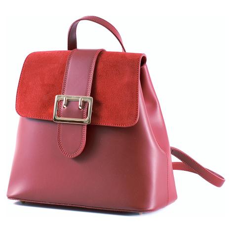 Elegantní dámský kožený batoh s klopnou tmavě červený, 29 x 14 x 28 (777-10CC)