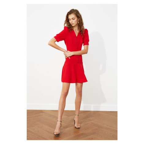 Trendyol Red Balloon Sleeve Button DetailEd Dress