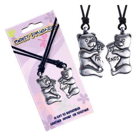 BEST FRIENDS šňůrkové náhrdelníky, méďové, srdce Šperky eshop