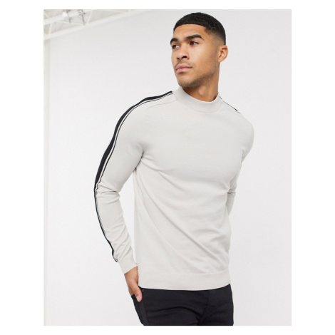 River Island jumper in stone with arm stripe-Neutral