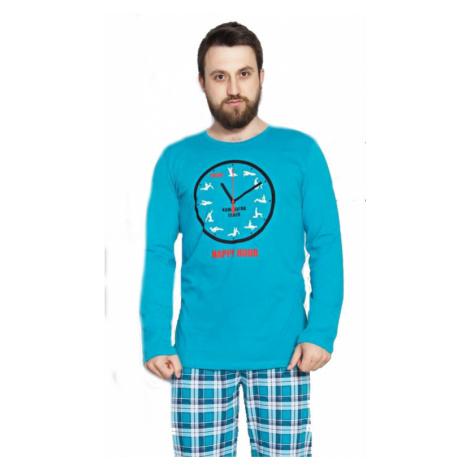 Pánské pyžamo dlouhé Vienetta Secret Kamasutra clock | tyrkysová