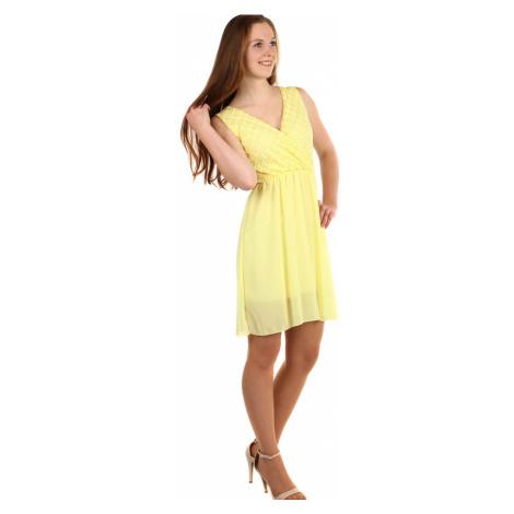 Krátké šifonové šaty s krajkou