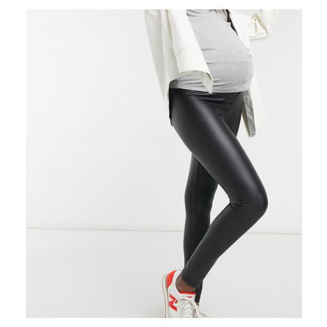 New Look Maternity wet look faux leather legging in black