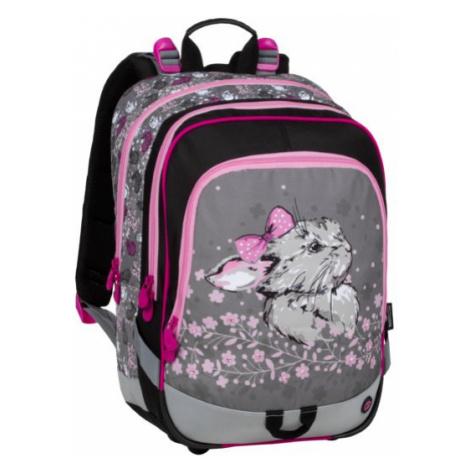 Školní šedorůžový batoh do první třídy s králíčkem BAGMASTER 20 B PINK/GRAY/BLACK, holčičky, zví