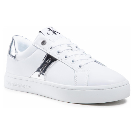 Sneakersy CALVIN KLEIN JEANS - Cupsole Sneaker Laceup YW0YW00061 Bright White/Silver Python 0LE
