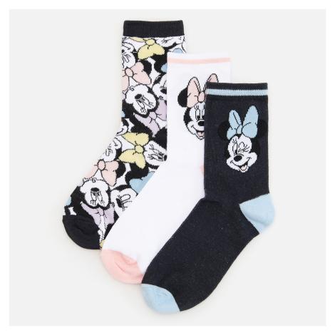 Reserved - Sada 3 párů vzorovaných ponožek Minnie Mouse - Černý