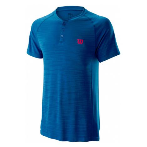 Pánské tričko Wilson Competition Seamless Henley Blue