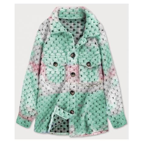 Růžovo-mátová dámská košilová bunda se stojáčkem (1132) Made in Italy