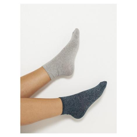 Sada dvou ponožek v světle šedé a petrolejové barvě CAMAIEU Camaïeu