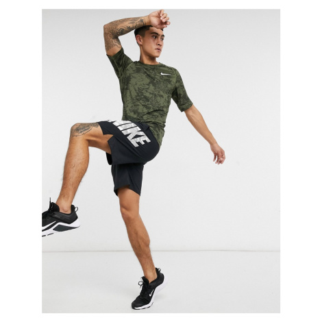 Nike Pro Training all over camo print baselayer t-shirt in green
