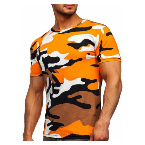 Oranžové pánské bavlněné maskáčové tričko s potiskem Bolf 14930