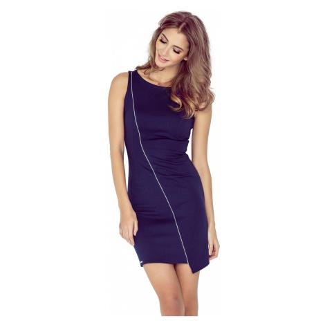 Tmavě modré asymetrické šaty s lemem model 4977517 Morimia