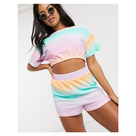 ASOS DESIGN jersey towelling short co-ord in pink and green ombre-Multi