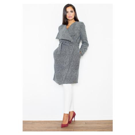 FIGL Elegantní kabát s páskem M408 Grey