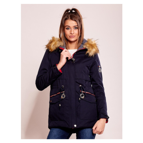 Dark blue insulated parka jacket with hood Fashionhunters